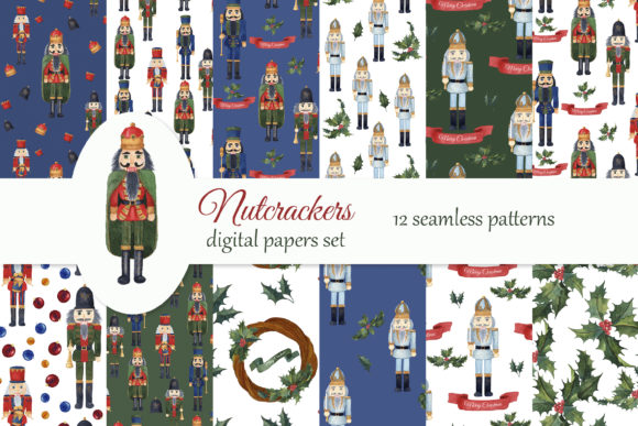 Print on Demand: Nutcrackers Christmas Digital Paper Pack Graphic Patterns By s.yanyeva