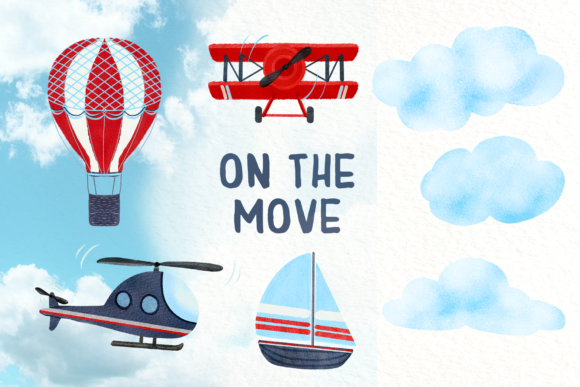 On the Move - Clip Art Set Graphic Illustrations By tatibordiu