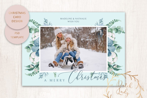 Print on Demand: PSD Christmas Photo Card Template #2 Graphic Print Templates By daphnepopuliers