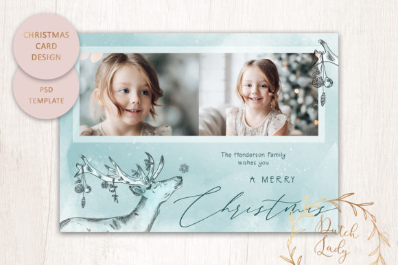 Print on Demand: PSD Christmas Photo Card Template #4 Graphic Print Templates By daphnepopuliers
