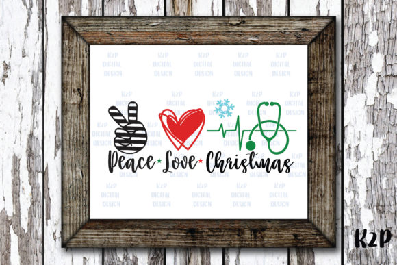 Print on Demand: Peace Love Christmas Nurse Stethoscope Graphic Crafts By KtwoP