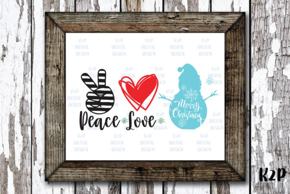 Print on Demand: Peace Love Christmas Snowman Graphic Crafts By KtwoP