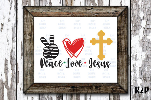 Print on Demand: Peace Love Jesus Cross Christmas Graphic Crafts By KtwoP