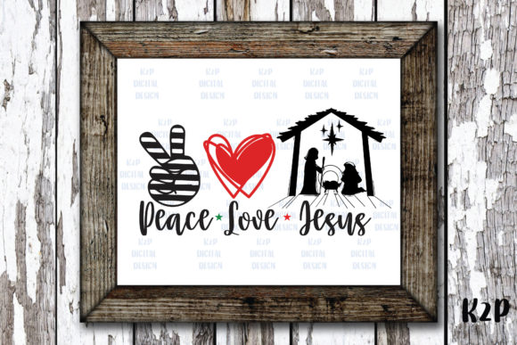 Print on Demand: Peace Love Jesus Scene Graphic Crafts By KtwoP