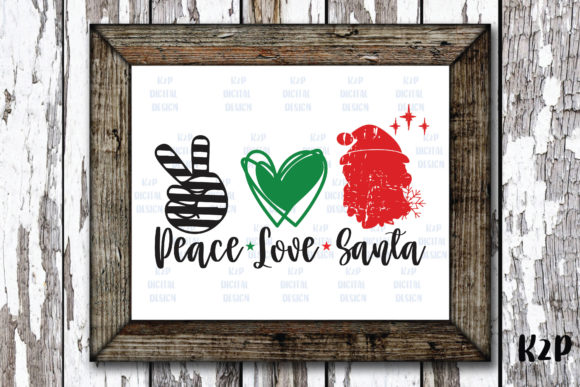 Print on Demand: Peace Love Santa Claus Graphic Crafts By KtwoP