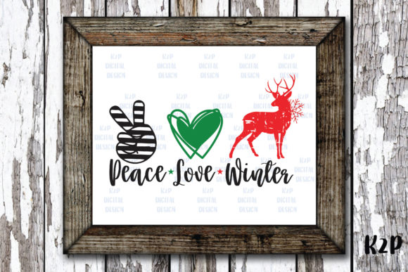 Print on Demand: Peace Love Winter Reindeer Christmas Graphic Crafts By KtwoP