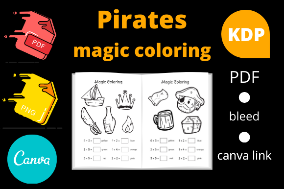 Print on Demand: Pirates Magic Coloring for Kids KDP Graphic KDP Interiors By Dunkyshot