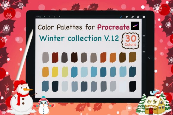 Procreate Color Palettes-Winter V12 Graphic Add-ons By jennythip