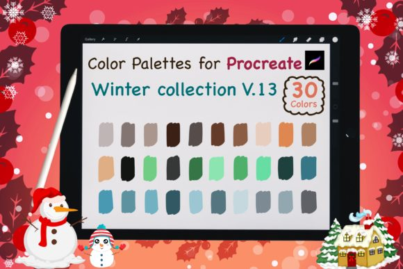 Procreate Color Palettes-Winter V13 Graphic Add-ons By jennythip