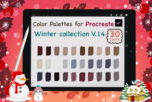 Procreate Color Palettes-Winter V14 Graphic Add-ons By jennythip