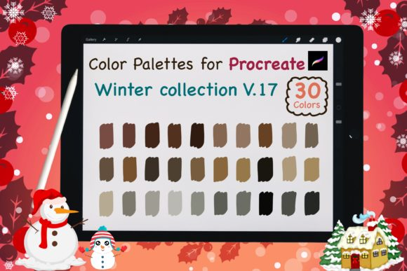 Procreate Color Palettes-Winter V17 Graphic Add-ons By jennythip