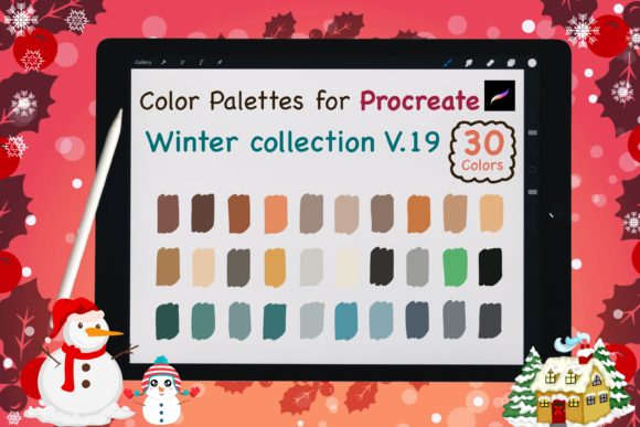Procreate Color Palettes-Winter V19 Graphic Add-ons By jennythip