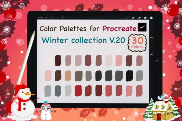 Procreate Color Palettes-Winter V20 Graphic Add-ons By jennythip