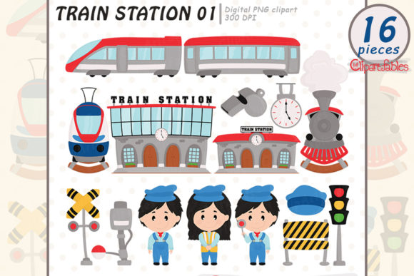 Railway, Train Station Clip Art for Kids Graphic Illustrations By clipartfables