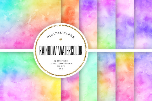 Rainbow Watercolor Backgrounds Graphic