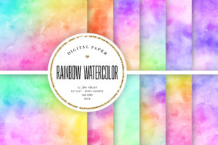 Print on Demand: Rainbow Watercolor Backgrounds Graphic Backgrounds By Sabina Leja