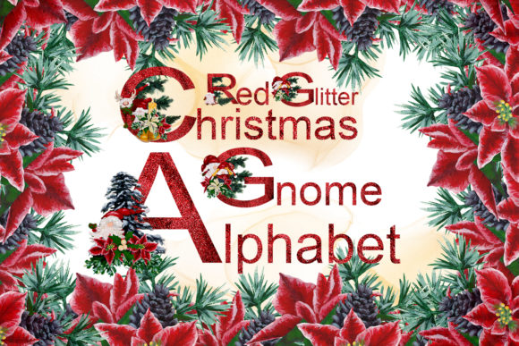 Print on Demand: Red Glitter Christmas Gnome Alphabet Graphic Illustrations By Andreea Eremia Design