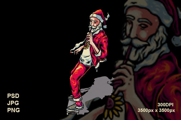Santa and Skate Graphic Illustrations By therintproject