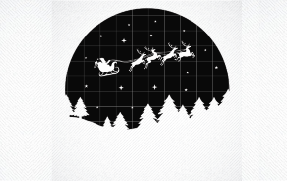 Print on Demand: Santa's Sleigh, Stars and Trees Circle Graphic Crafts By SVG DEN