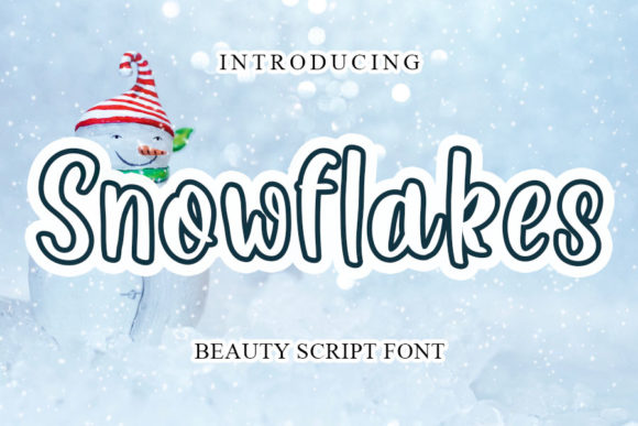 Print on Demand: Snowflakes Display Font By mizanstudio
