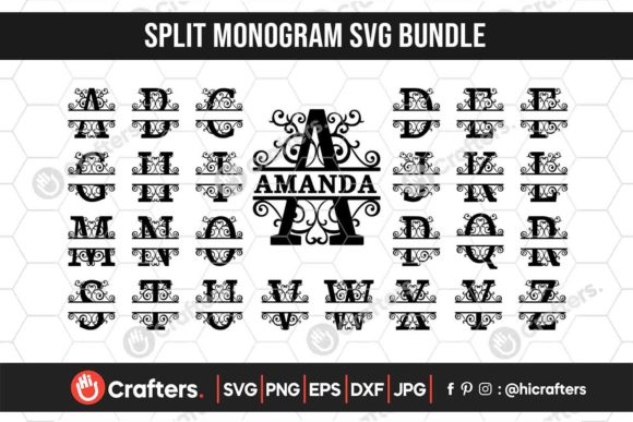 Split Monogram Letters Bundle Graphic Crafts By HiCrafters