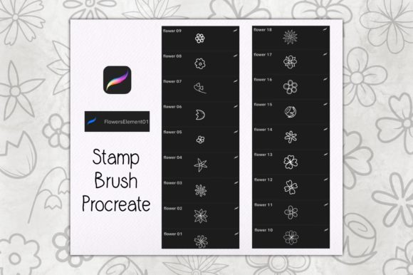 Stamp Brush Procreate   Flowers Element Graphic Brushes By TakeNoteDesign