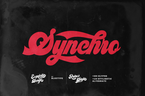 Print on Demand: Synchro Display Font By bluetype