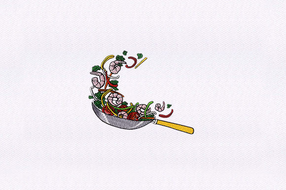 Tossing Pan Kitchen & Cooking Embroidery Design By DigitEMB