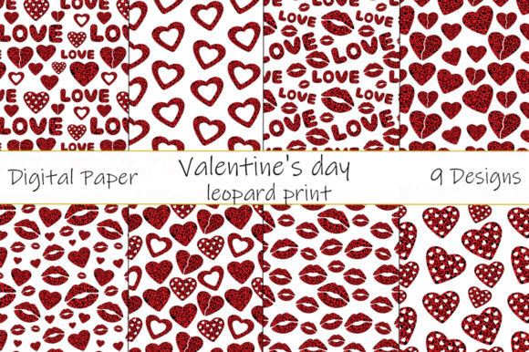 Valentine's Day, Leopard Print and Heart Pattern Graphic Patterns By shishkovaiv
