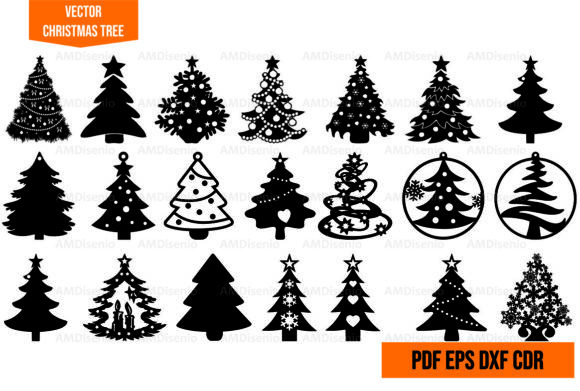 Vector Christmas Tree Cut Illustrator Graphic Illustrations By AM Diseño