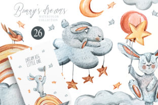 Print on Demand: Watercolor Cute Sleeping Bunny Clipart Graphic Illustrations By Tiana Geo