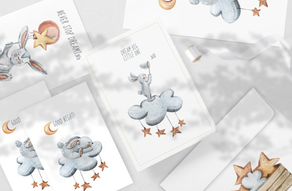 Watercolor Cute Sleeping Bunny Clipart Graphic Image