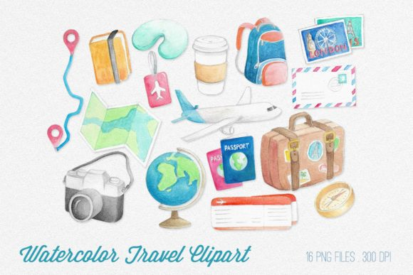 Watercolor Travel Clipart Graphic Illustrations By peachycottoncandy