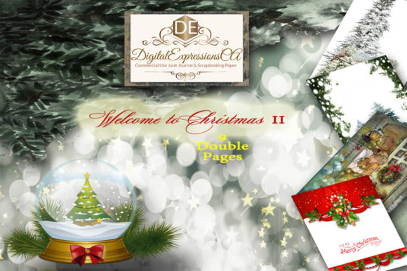 Welcome to Christmas Junk Journal Pages Graphic Illustrations By Digital Expressions CA