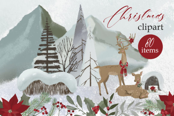 Woodland Christmas Clipart Graphic Illustrations By lena-dorosh