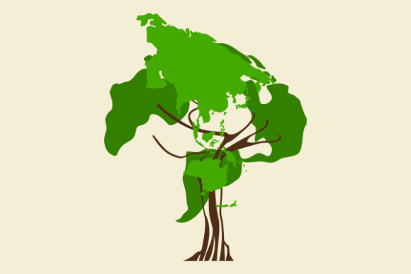 World Map Tree Illustration Art Graphic Illustrations By faqeeh