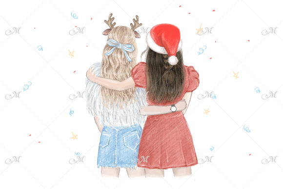 Xmas Best Friends Illustration Graphic Illustrations By MaddyZ
