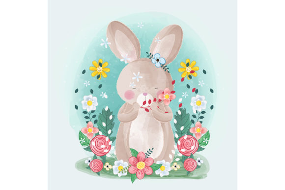 Cute Little Bunny with Flowers Graphic Illustrations By Aghiez