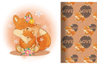 Cute Little Fox Kid and Mom Graphic Illustrations By Aghiez