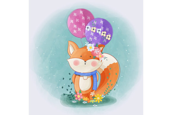 Cute Little Fox with Flowers and Balloon Graphic Illustrations By Aghiez