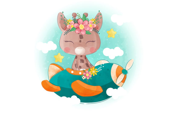 Cute Little Giraffe Flying with a Plane Graphic Illustrations By Aghiez