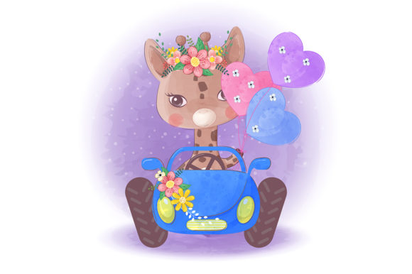 Cute Little Giraffe on a Blue Car Graphic Illustrations By Aghiez