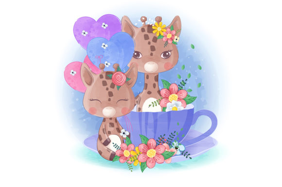 Cute Little Giraffe with a Tea Cup Graphic Illustrations By Aghiez