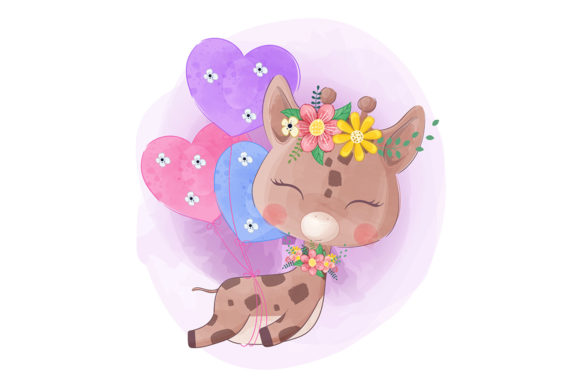 Little Giraffe Flying with Balloons Graphic Illustrations By Aghiez