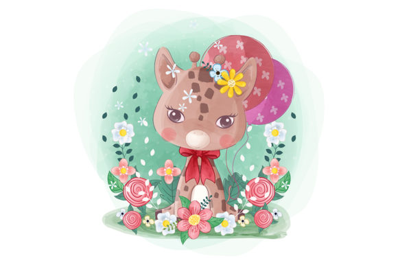 Little Giraffe with Flowers and Balloons Graphic Illustrations By Aghiez