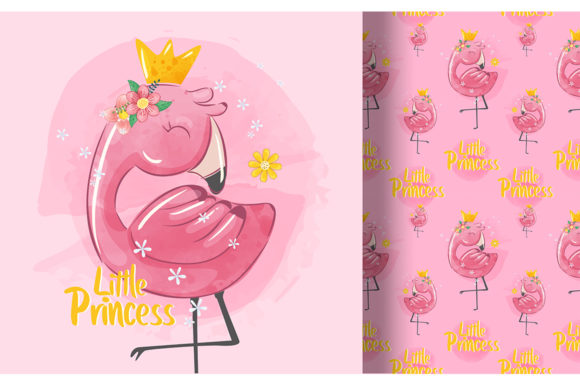 Little Princess Flamingo with Pattern Graphic Illustrations By Aghiez
