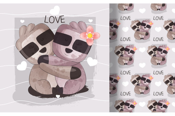 Sloth Couple with Seamless Pattern Graphic Illustrations By Aghiez