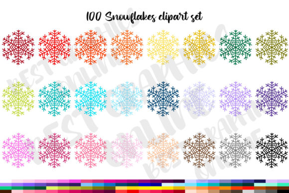 100 Christmas Snowflakes Clipart Graphic Illustrations By bestgraphicsonline