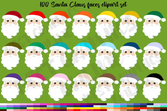 100 Santa Claus Clipart Set, Santa Faces Graphic Illustrations By bestgraphicsonline