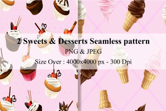 2 Delicious Desserts Seamless Pattern Graphic Illustrations By creation